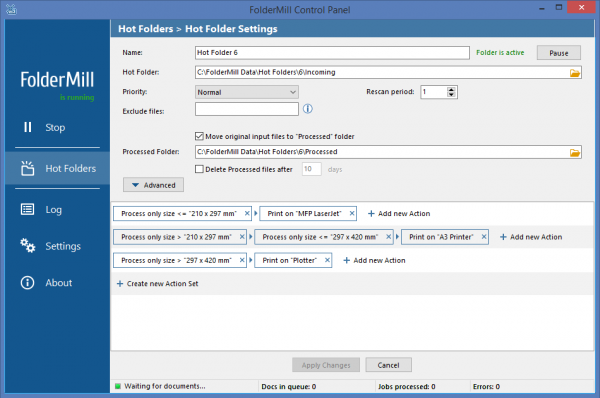 Action Set for filtering files by paper size in FolderMill