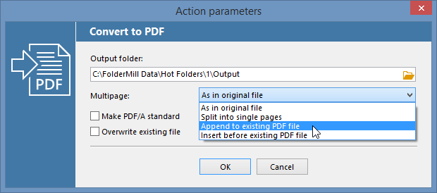 Append to existing PDF file in FolderMill