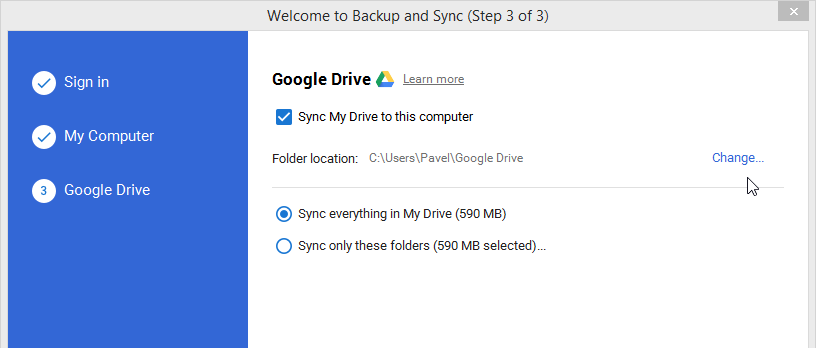Sync your cloud storage with local folder