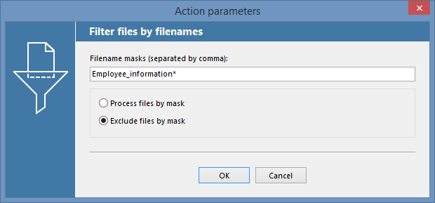Filter files by filenames in FolderMill