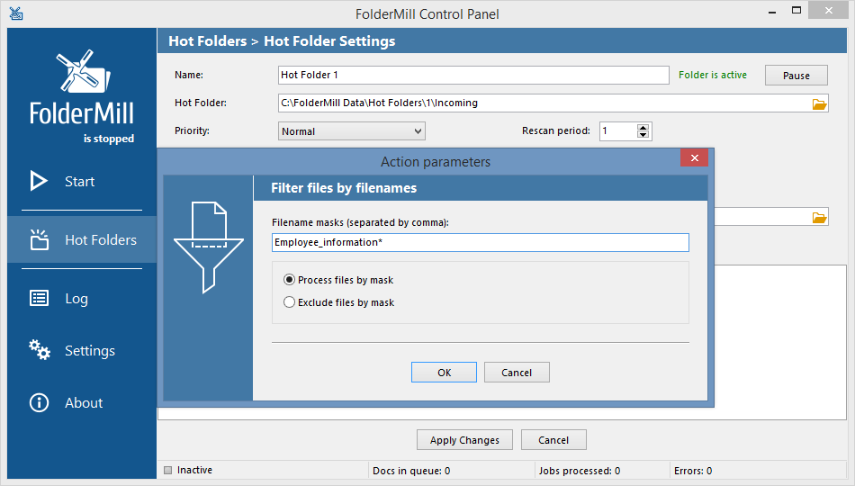 Filename Filter Action parameters