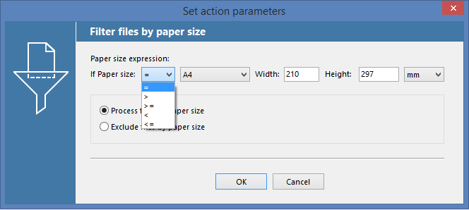 Filter incoming documents by paper size mask in FolderMill