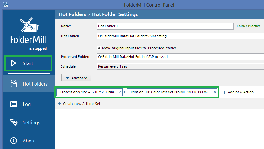 Hot Folder Settings: Filter files by paper size + Print Document