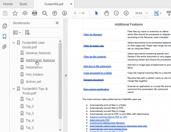 Ability to save all bookmarks when merging two or more files to a multipage PDF