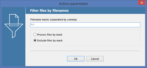 Filter files by file name Action parameters in FolderMill