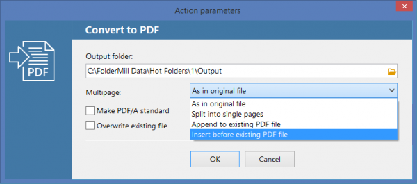 Insert pages before existing PDF file with FolderMill