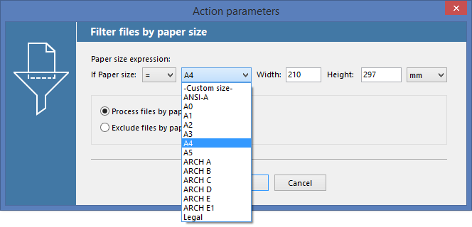 Print documents of a specific page format with FolderMill