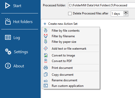 FolderMill Action Set