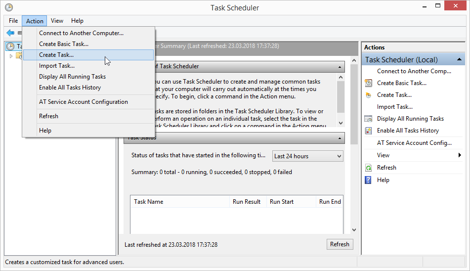 Create a new task for scheduled file conversion