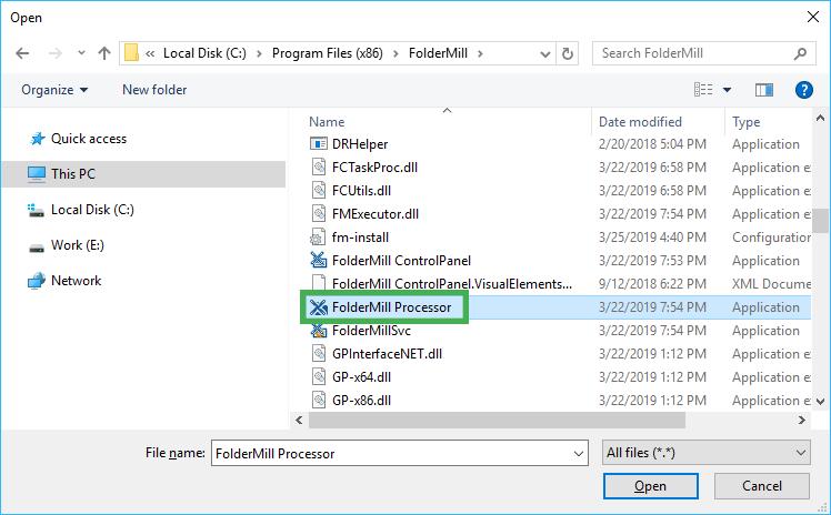 Select FolderMill Processor