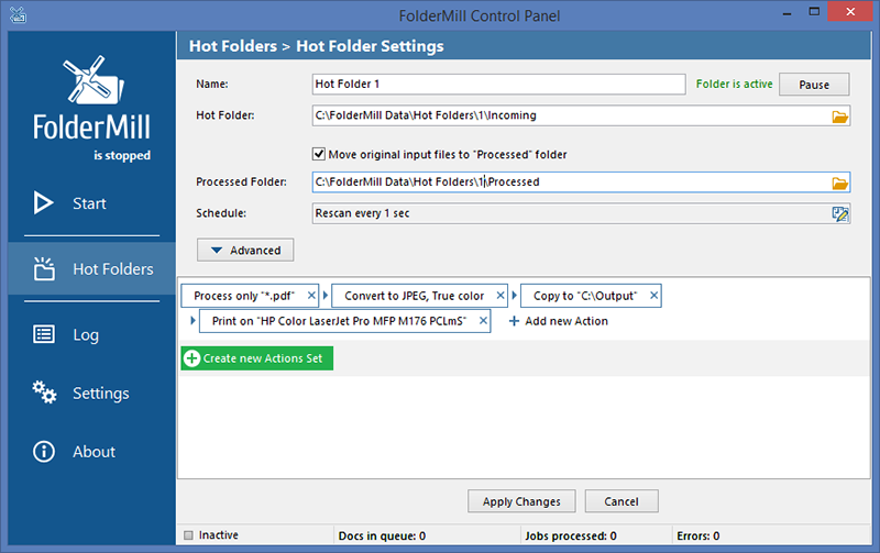 Print or convert to PDF new documents and image files from a Hot folder