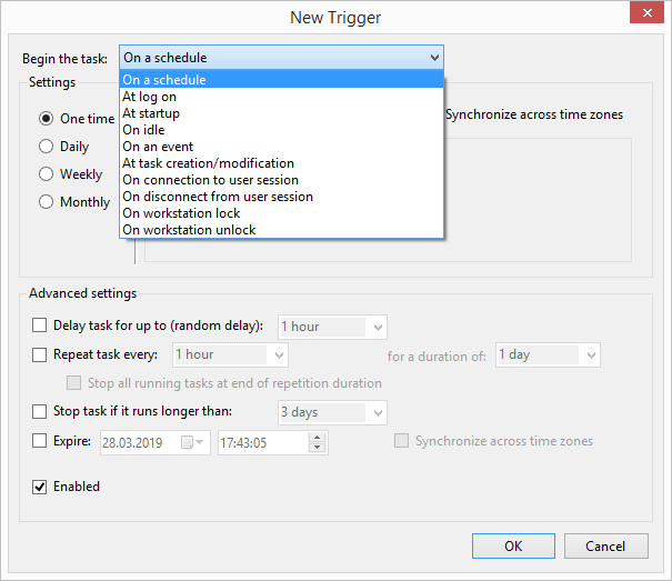 Make time-based or event-based trigger settings
