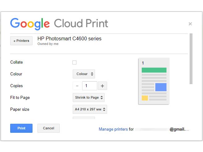 Sending a print job in Google Cloud Print