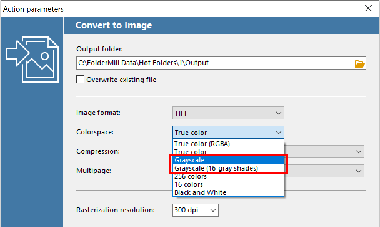 Ability to save TIFF and JPEG images in grayscale mode