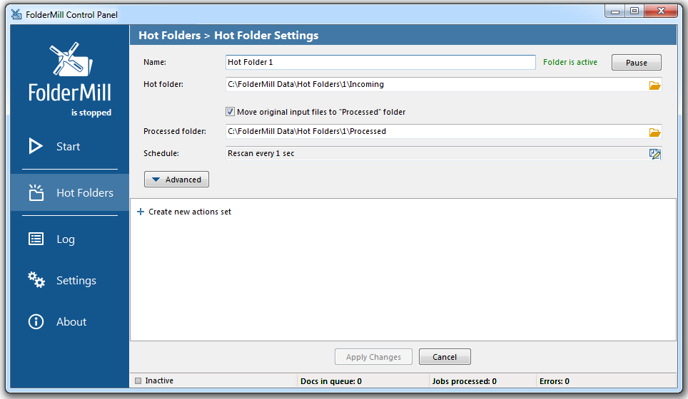 FolderMill Hot Folder Settings