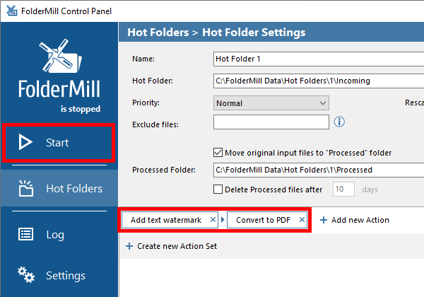 Hot Folder Settings: Add text watermark + Convert to PDF