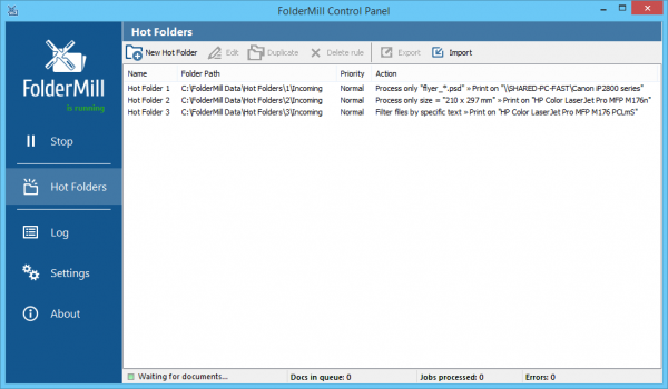 Hot Folders for specific print tasks