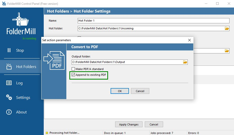 'Convert to PDF' & 'Append to existing PDF' action