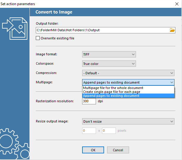 'Convert document to Image' & 'Append to existing document' action