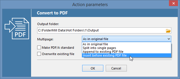 Convert to PDF Action parameters in FolderMill