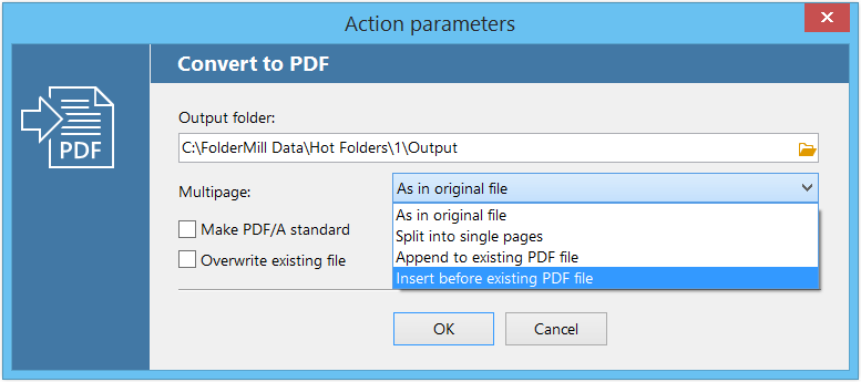 Merge PDF files with FolderMill