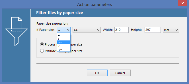 Filter by Paper Size Action in FolderMill