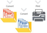 Print PDF and convert at the same time