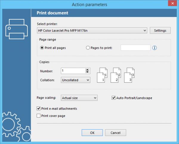 Print settings in FolderMill