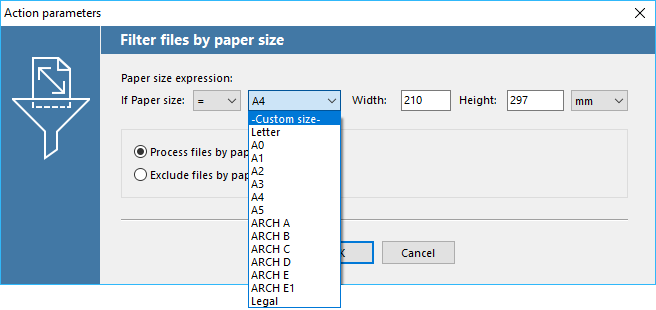 Select page format for Paper size Filter in FolderMill