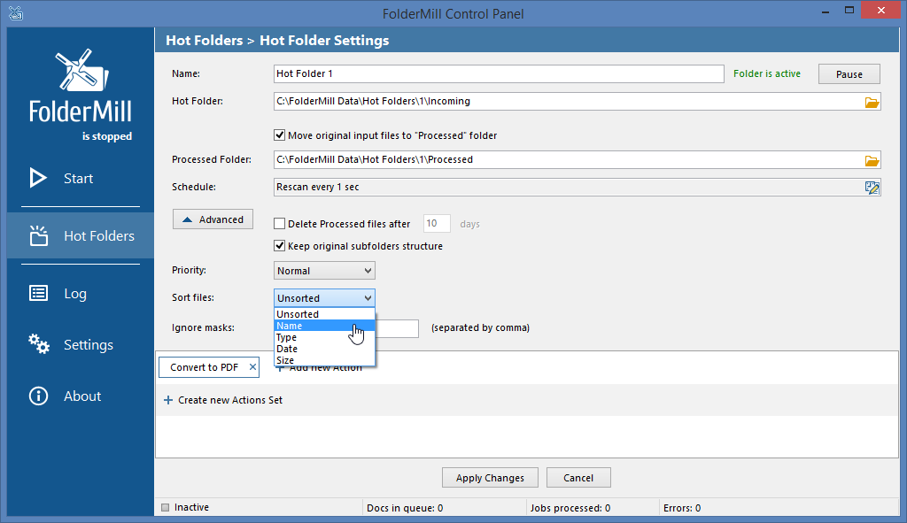 Control the file processing queue by sorting documents in FolderMill