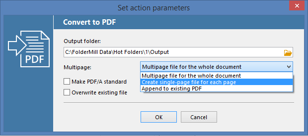 Convert to PDF and split PDF file into single pages with FolderMill