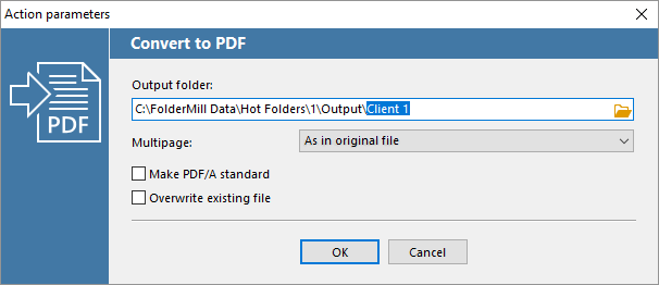 Convert to PDF Action parameters