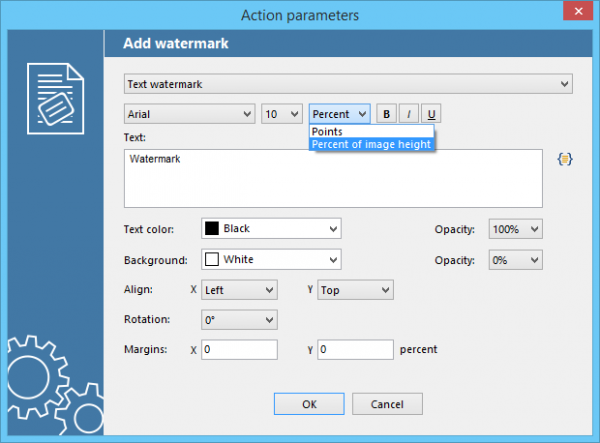 Specify text watermark font size as a percentage of page size